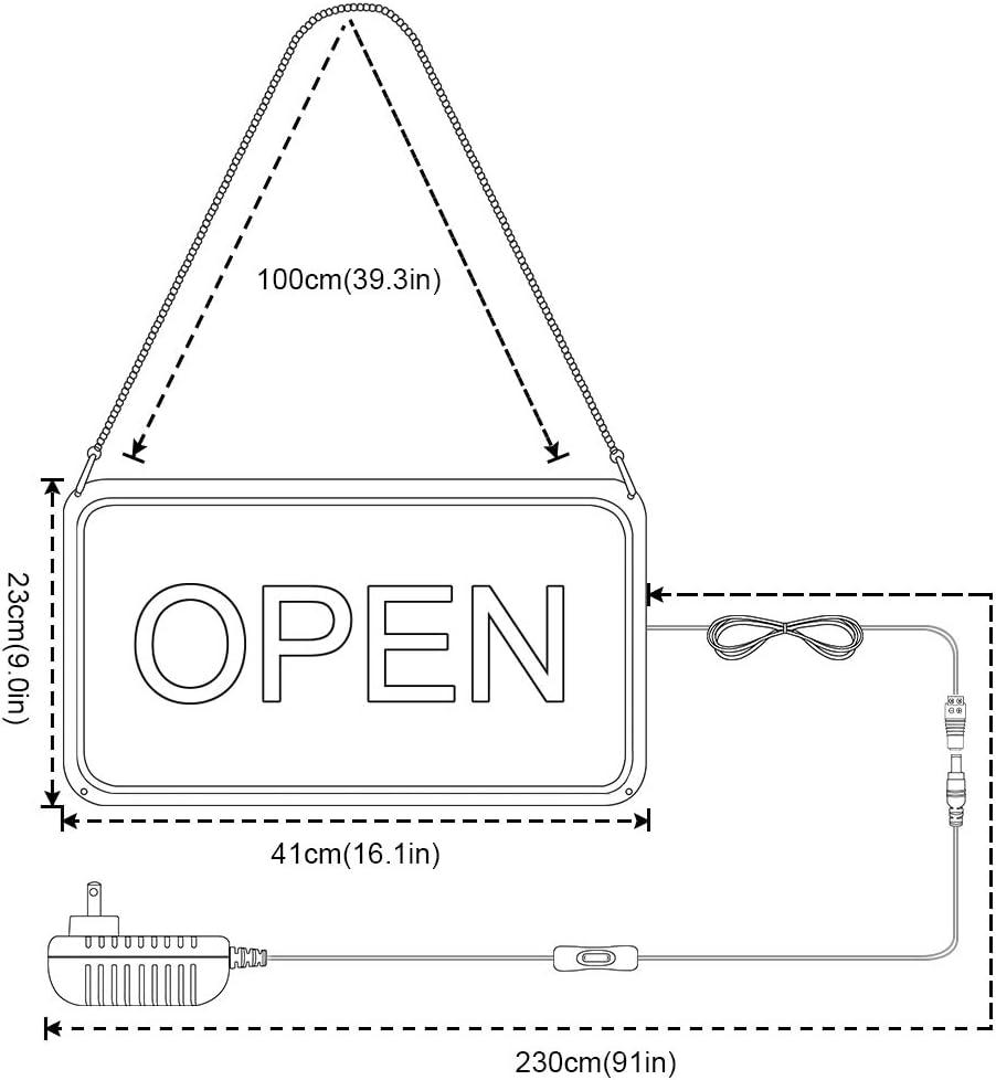 Uso interior Se/ñal luminosa negocio S tira de neon flex Base de metacrilato de 8mm cm Neon Ouvert 43 X 14