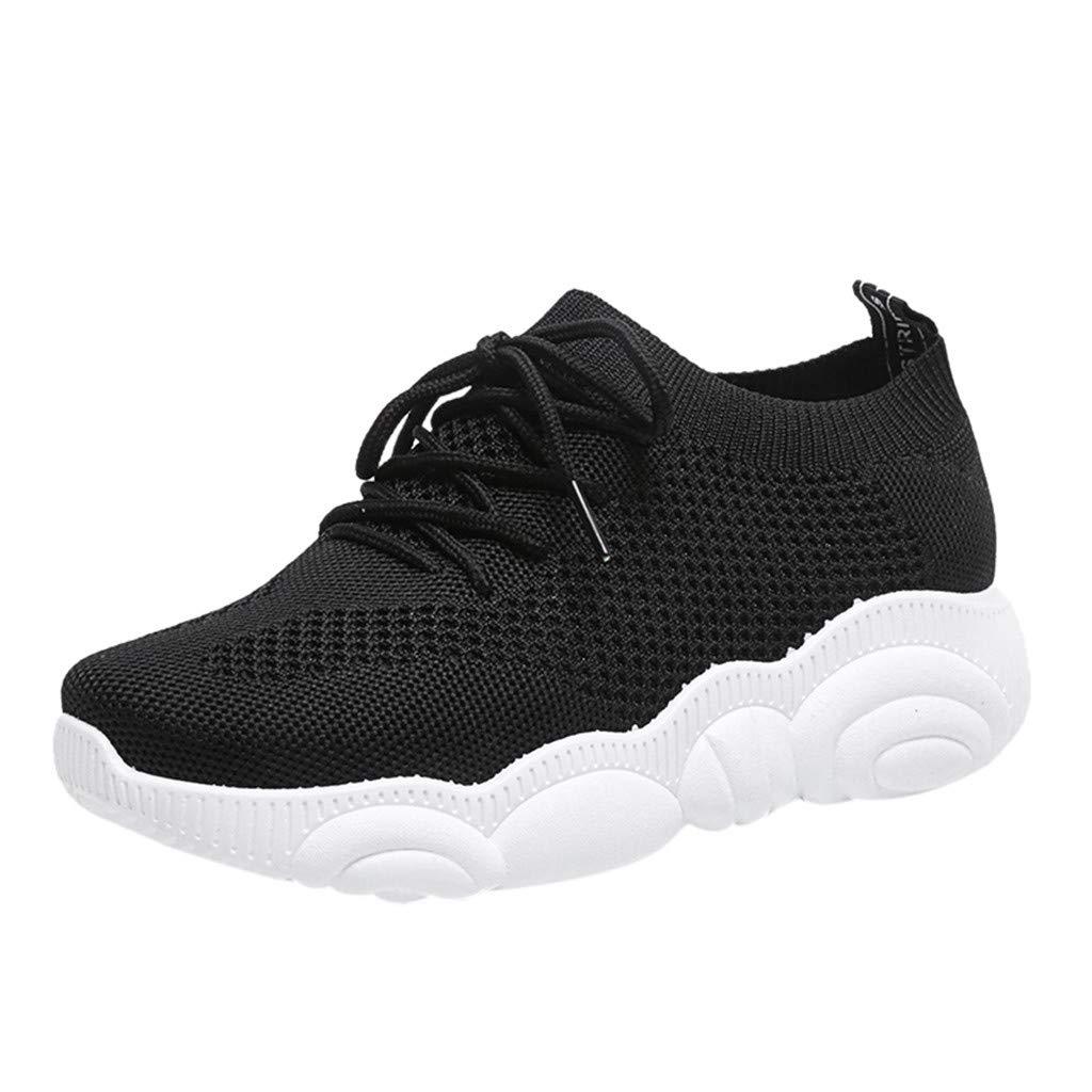 ZOMUSAR Women's Summer Cartoon Bear Sole Flat Ladies Casual Mesh Sport Shoes Sneakers Black