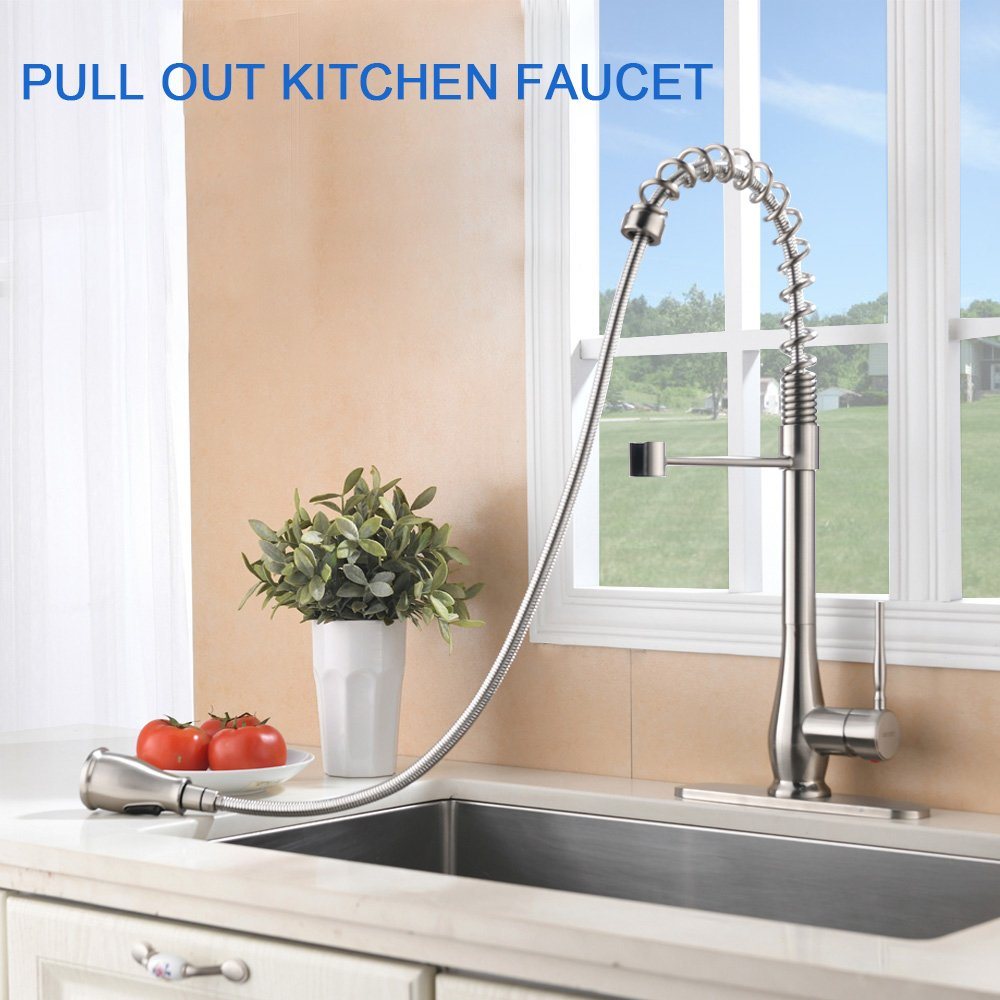 VAPSINT Beauty High-end Luxury Super High Arch Brushed Nickel Kitchen Faucet, Kitchen Sink Faucets Included Deck Plate by VAPSINT (Image #4)