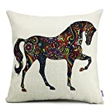 18 x 18 Euro Square Cotton Linen Horse Print Pattern Throw Pillow Covers