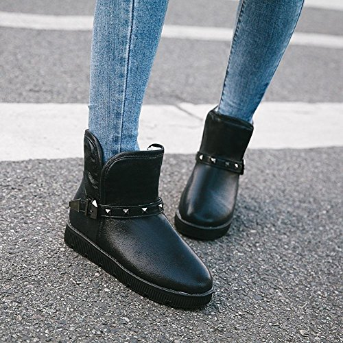 Black Latasa Women's Winter Studded Flat Slouch Boots Buckle Strap and zwrzRnqHT