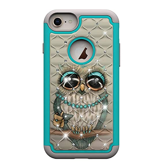 Amazon.com: iPhone 6/6S/7/8 Case,Shockproof Slim 2 in 1 Hybrid Case Hard PC Back Cover with Point Drill & Creative Pattern Inner Soft TPU Bumper Case ...
