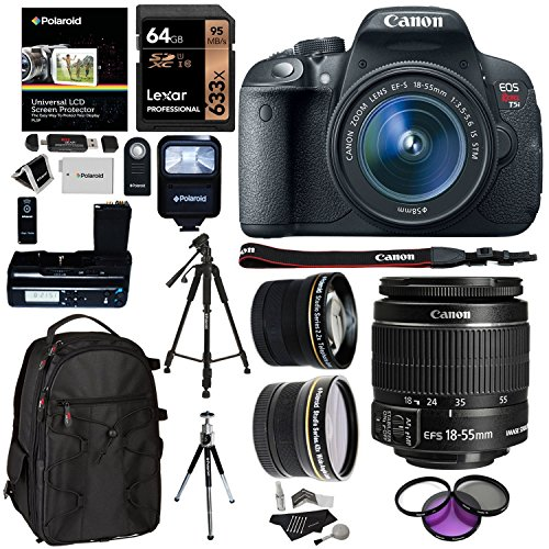 Canon EOS Rebel T5i + 18-55 IS STM Digital Camera + Polaroid LCD Battery Grip + Polaroid Telephoto & Wide Angle Lenses + Lexar 64GB 633x SDHC Card + Ritz Gear Camera Backpack Premium Bundle
