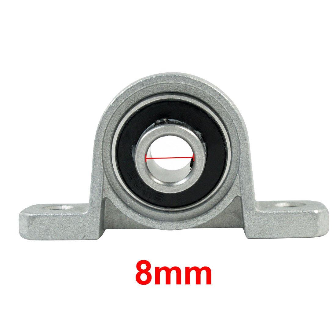 uxcell Silver Tone KP08 Pillow Block Cast Housing 8 x 7mm Insert Ball Bearing