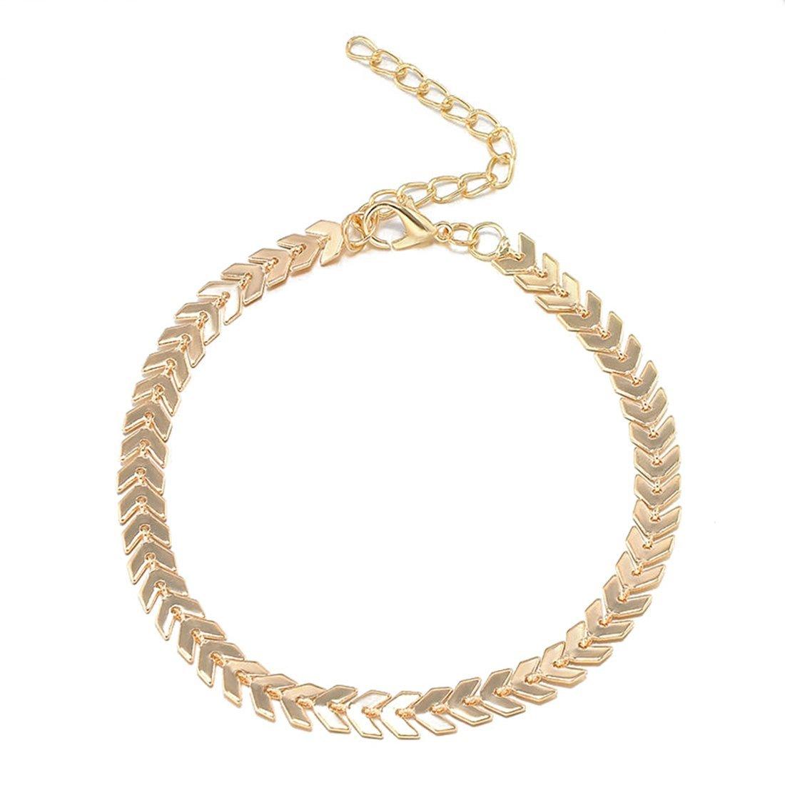 Idealhere Fashion Flat Snake Ankle Chain Bracelet Barefoot Sandal Beach Anklet JA0021632G