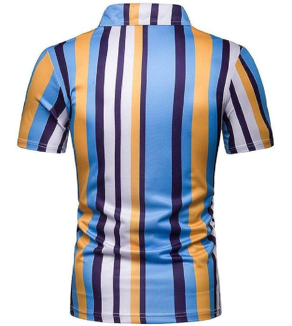UUYUK Men Short Sleeve Vertical Stripes Summer Casual Contrast Polo Shirt