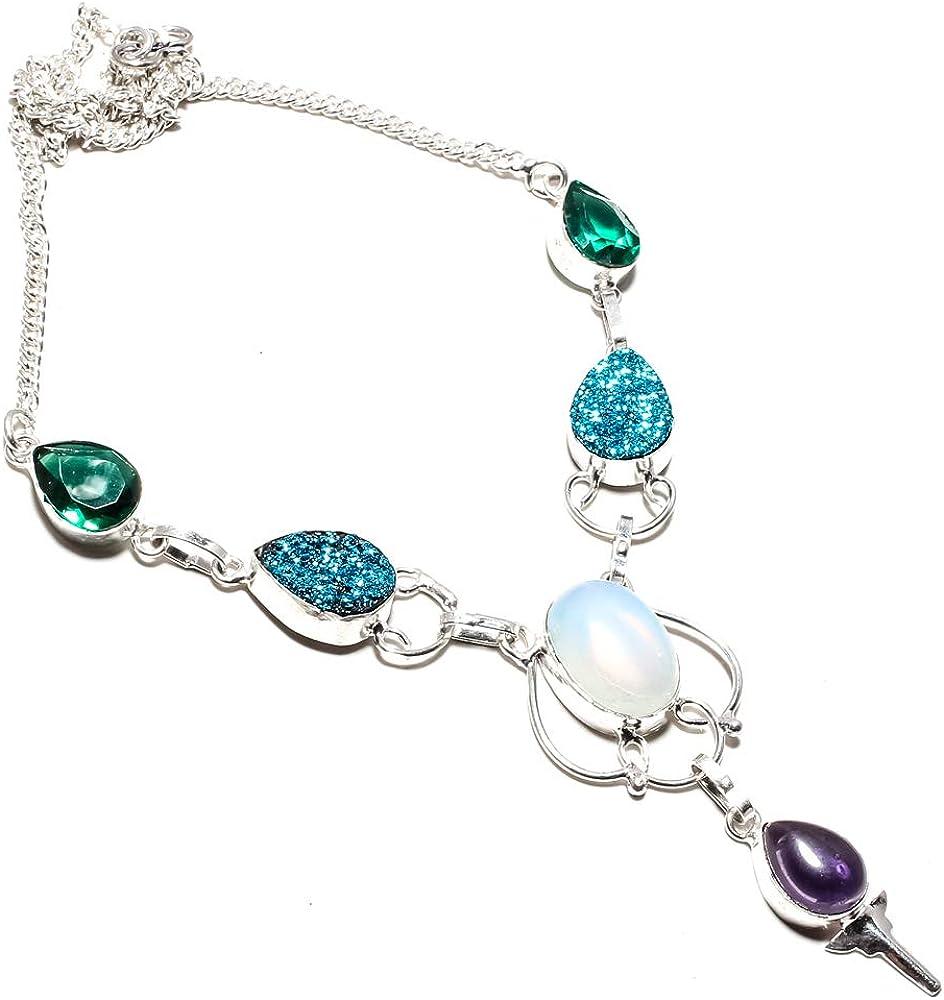 jewels paradise Collar de ópalo lechoso y titanio azul drusa, turmalina verde, piedra amatista, hecho a mano, chapado en plata de ley 925, collar de cadena ajustable – (SF-1356)