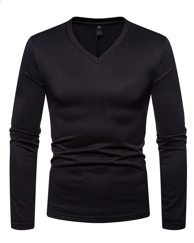 JOLIME T-Shirt Uomo Manica Lunga Scollo a V Maglietta Termica con Interno in Pile Maglione Maglia
