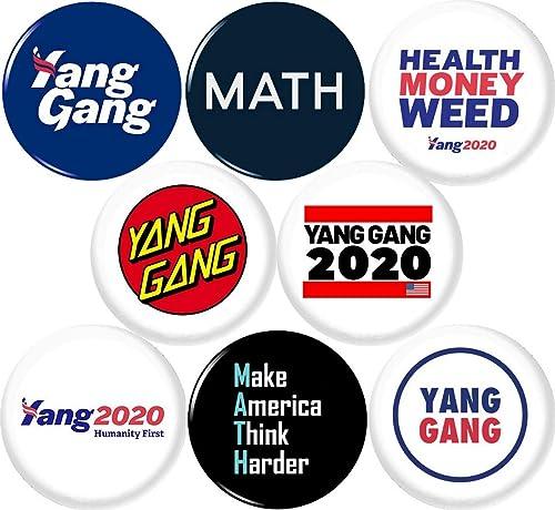 Set of 8 Pinback Buttons Badges Pins yang Gang yanggang 25mm Andrew YANG 2020 8 New 1 Inch