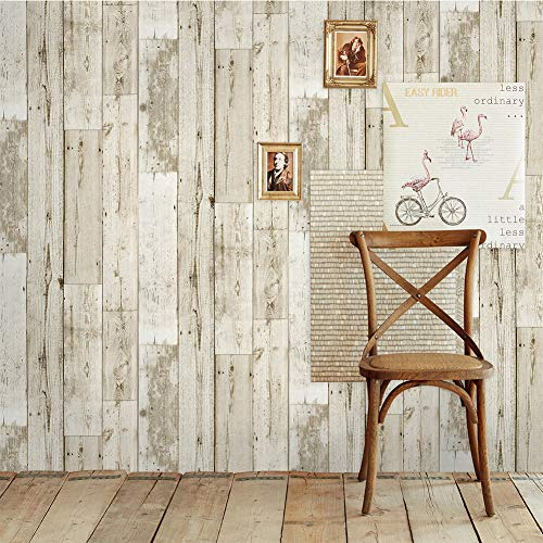 (Orgrimmar 19.7ft x 17.8in Wood Peel and Stick Wallpaper Self-Adhesive Removable Wallpaper Covering Decorative Stick Film Vintage Wood Panel Wallpaper Vinyl Decal Roll)