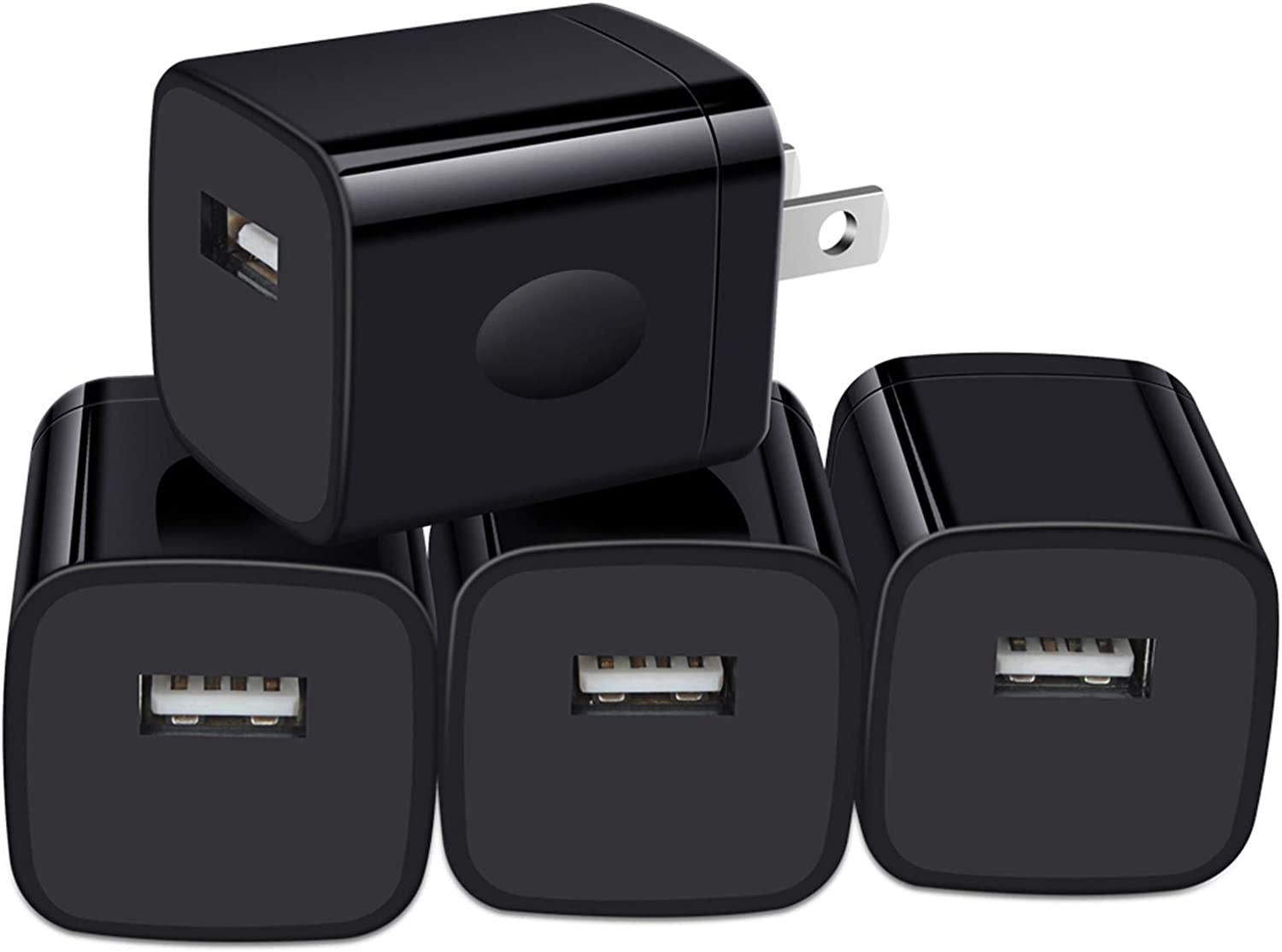 Charging Block for iPhone, USB Plug, Charger Box, Power Bricks, NonoUV 4-Pack 1-Port USB Wall Charger Cube Adapter for iPhone 12 11 Pro Max SE XR XS X 8/8 Plus 7/7 Plus 6/6 Plus 6s, Samsung, Android