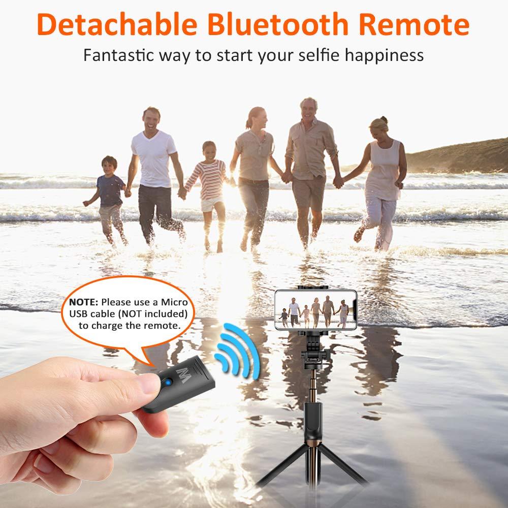 Palo Selfie Bluetooth, Bovon Palo Selfie Trípode con Control Remoto para Gopro y Más Cámaras Deportiva, 360° Rotación Extensible Selfie Stick para ...