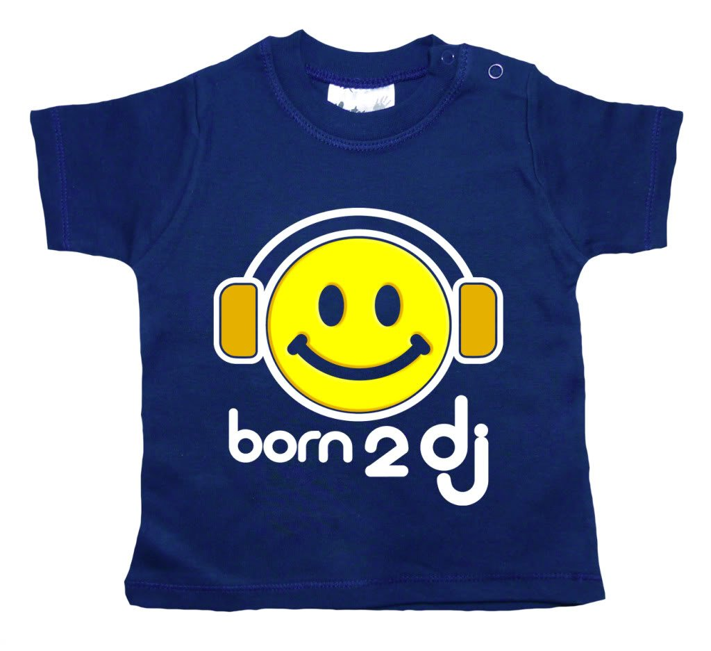 Dirty Fingers, Born 2 DJ, Baby T-shirt, 18-24m, Navy Blue USAborndjgN1824