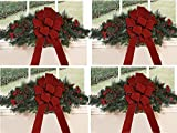 Set of 4 Christmas Window Swags with Red Velvet Bows CR1511
