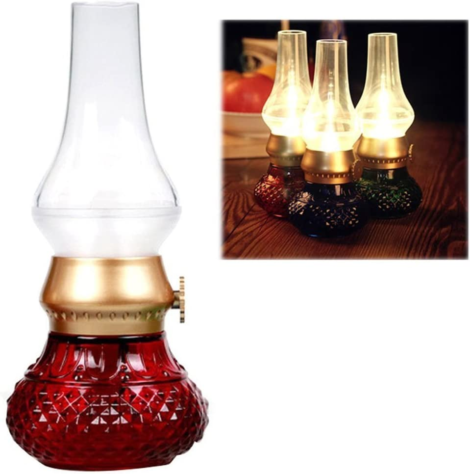 Flameless LED Light, Decorative Rechargeable Flameless Candle Lantern, Vintage Oil Table Lamp with Blow ON/Off Control, Dimmer Control Key, Kerosene Lamp, Bedside Lamp,Small Night Light (Red)