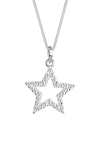 Elli Women's 925 Sterling Silver Star Astro Swarovski Crystals Necklace 1Lwtgo
