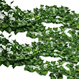 Meiliy 12pcs (82 Feet) Artificial Greenery Fake Hanging Vine Plants Leaf Garland for Wedding Party Garden Outdoor Wall Decoration