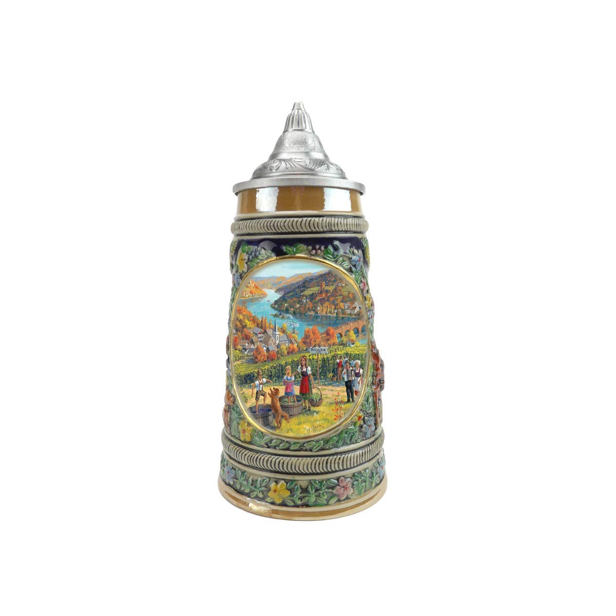 """Fall In Germany"" Essence of Europe Gifts E.H.G. Collectible Ceramic Beer Stein with metal lid (#1 in Collection of Four Steins)"