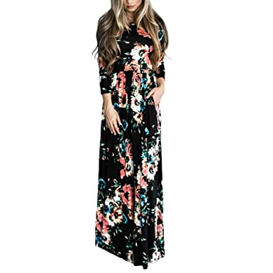 7c7040f4ca80a4 HOOYON Women's Casual Floral Printed Long Maxi Dress with Pockets(S-5XL) (