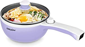 Dezin Electric Hot Pot Upgraded, Non-Stick Sauté Pan, Rapid Noodles Cooker, 1.5L Mini Pot for Steak, Egg, Fried Rice, Ramen, Oatmeal, Soup with Temperature Control, Purple (Egg Rack Included)