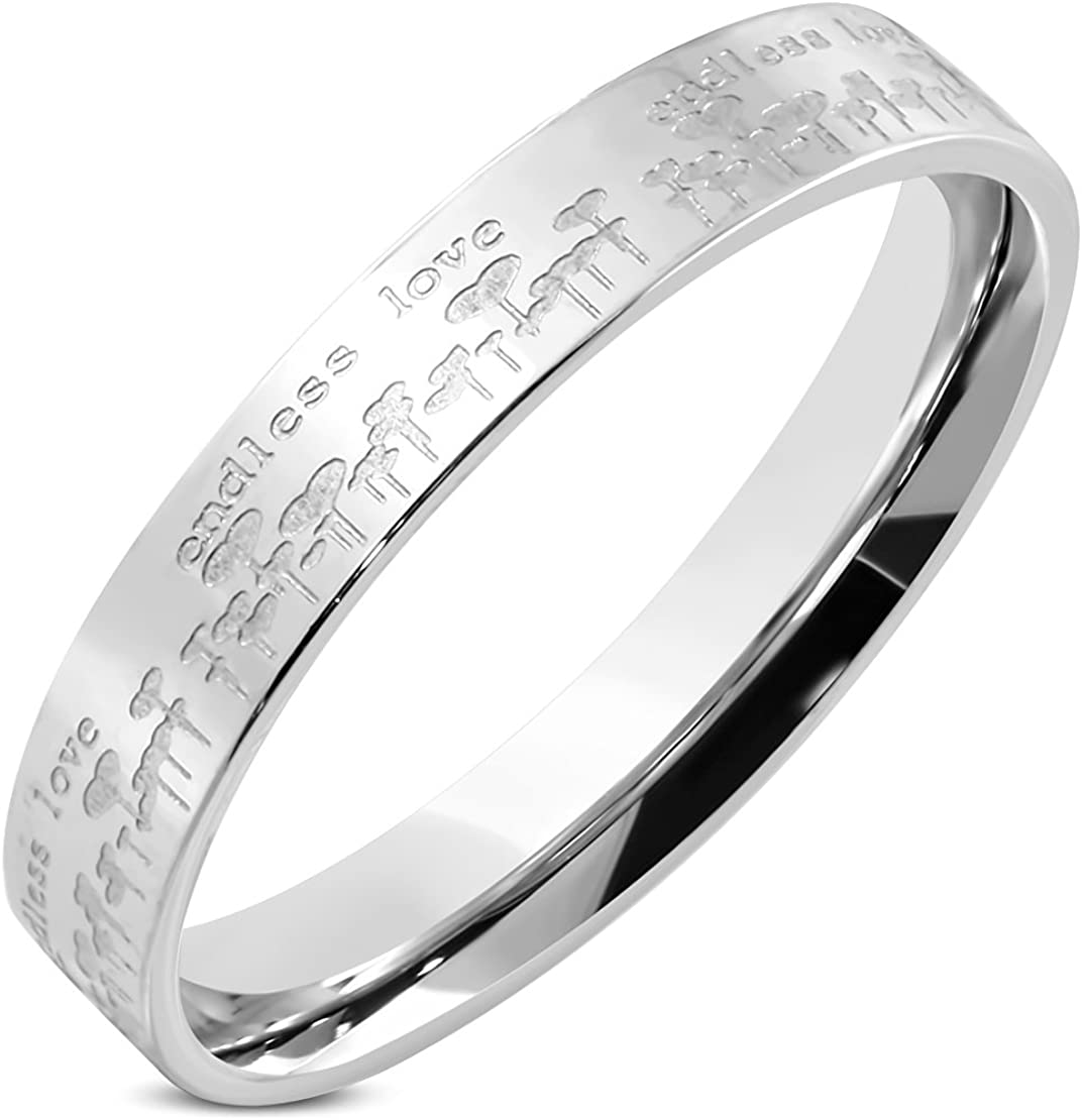Stainless Steel Endless Love Comfort Fit Wedding Flat Band Ring