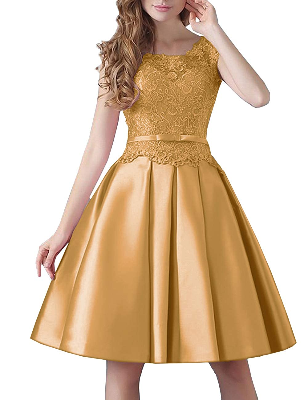gold Uther Prom KneeLength Lace Cocktail Dress Short Stain Homecoming Dresses for Girls
