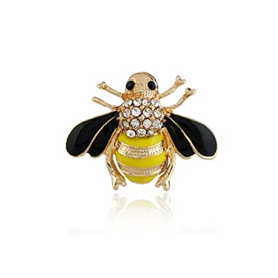 Lovely Crystals Bee Collar Brooch Pin Yellow Enamel Insect Lapel Pin for Womens Dress