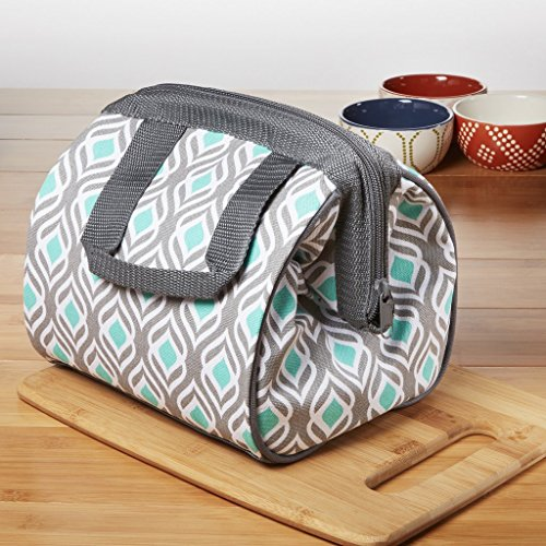 Fit & Fresh Charlotte Insulated Lunch Bag for Women & Girls with Ice Pack, Ideal for Work & School, Zips Fully Closed, Gray Aqua (Leaf Lunch)