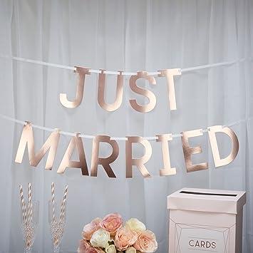 Hochzeits Girlande Just Married In Rose Gold Kupfer Hochzeit