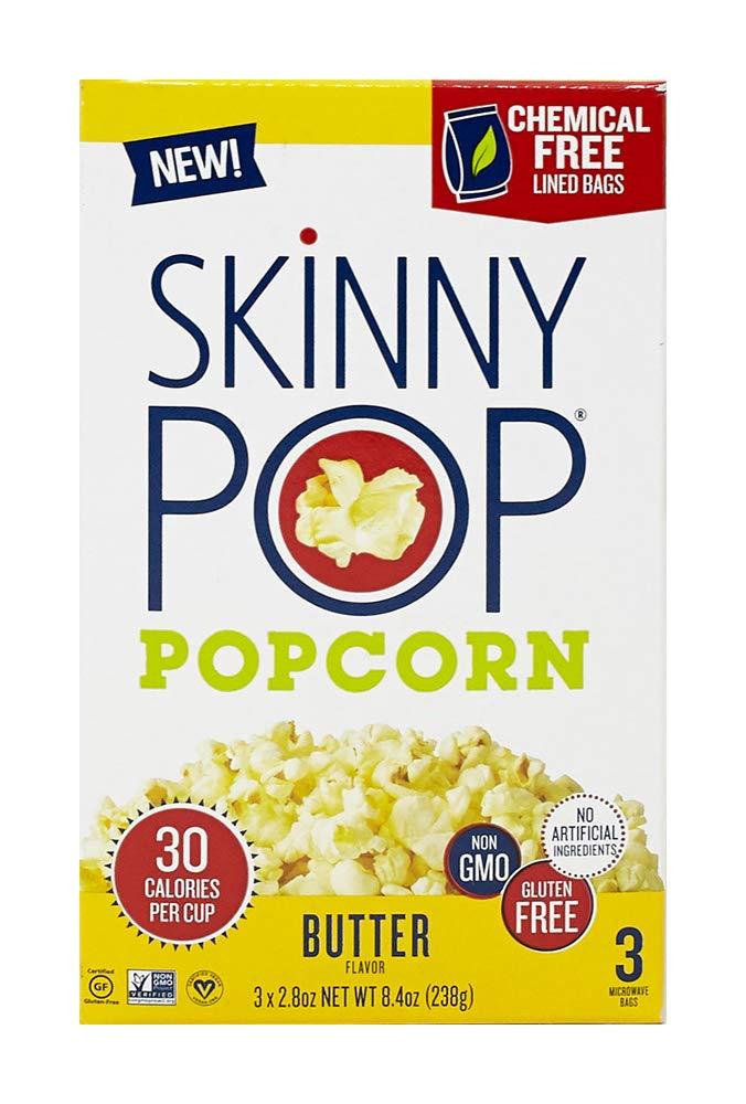SkinnyPop Microwave Popcorn Bags, Healthy Snacks Microwavable Bags, Butter, 2.8 Oz, (Pack of 3)