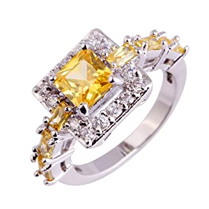 Lingmei 6mm*6mm Princess Cut Golden Color Stone Elegant Style Silver Plated Engagement Ring