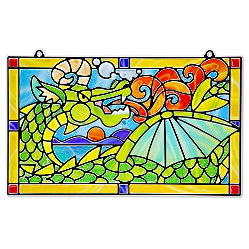 Melissa & Doug Stained Glass Made Easy Activity Kit, Dragon (Arts and Crafts, Develops Problem Solving Skills, 170+ Stickers, Great Gift for Girls and Boys - Best for 5, 6, 7 Year Olds and Up)