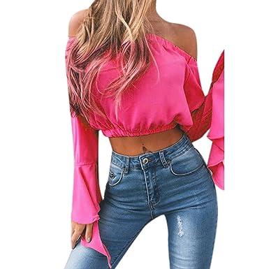 e3f59f1dd902c1 TANGSen Women's Sexy Off Shoulder Crop Tops Ladies Summer Fashion Shirts T-Shirt  Casual Blouse