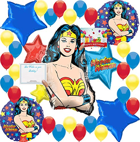 (Wonder Woman Birthday Balloon Decorations Bundle For (XL BALLOON)