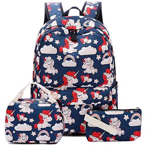 Price comparison product image Backpack for School Girls Teens Bookbag Set Kids School Bag Water Resistant Lunch Box Purse(Dark Blue/Unicorn Set)