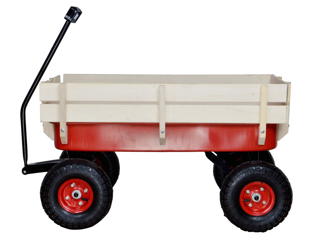 TMS Outdoor Wagon All Terrain Pulling w/Wood Railing Air Tires Children Kid Garden by TMS (Image #6)