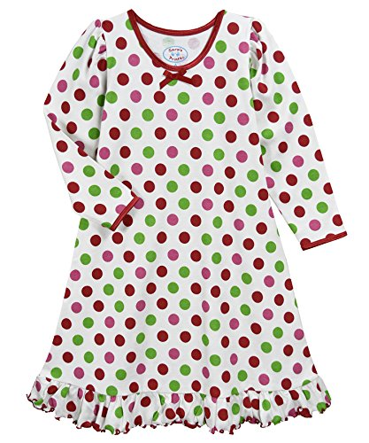 Sara's Prints Girls' Little Whirl and Twirl Long Sleeve Nightgown, Xmas dots, 7