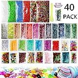 Slime Making Kits Supplies, 40 Packs Slime Supplies,Pearl, Foam Balls,Fishbowl Beads, Glitter Sheet Jars, Colorful Sugar Paper Accessories, Slime Tools for Slime Making Art DIY Craft
