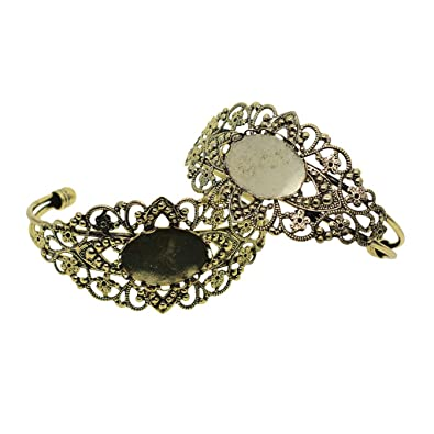 Amazon com: Fityle 2 Piece DIY Filigree Flower Bracelets