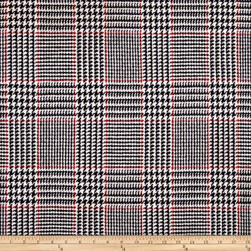 Plaid Glen Fabric (Fabric Mart Glen Plaid Coating Fabric, Black/White/Red, Fabric By The Yard)