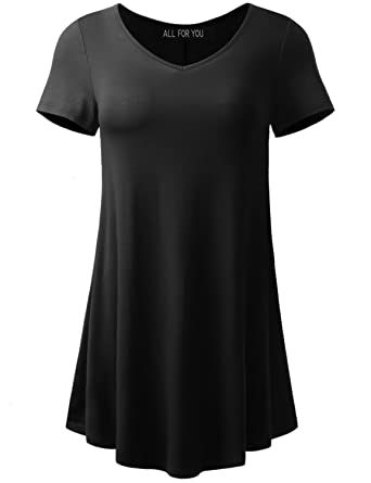 50e0fcdb45883 A.F.Y All For You Women's Short Sleeve V-Neck Flare Tunic Black Small