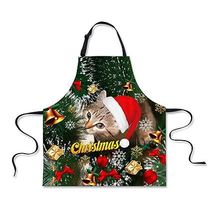 coloranimal Navidad cocina cocina delantales de barbacoa trabajo tienda camarera delantal