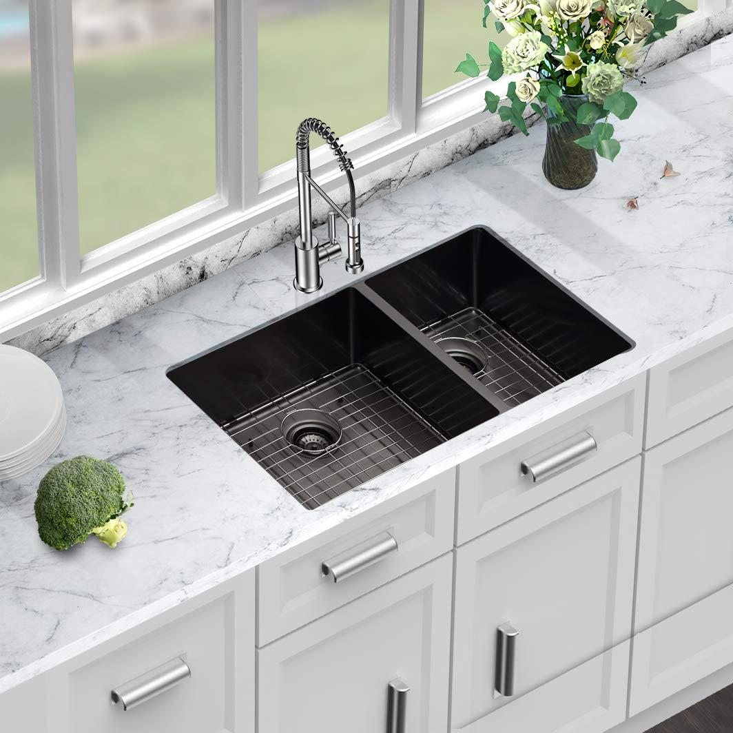 Sarlai 33 inch Kitchen Sink Matte Black/Double Bowl Divide 16 Gauge Undermount 60//40 Stainless Steel