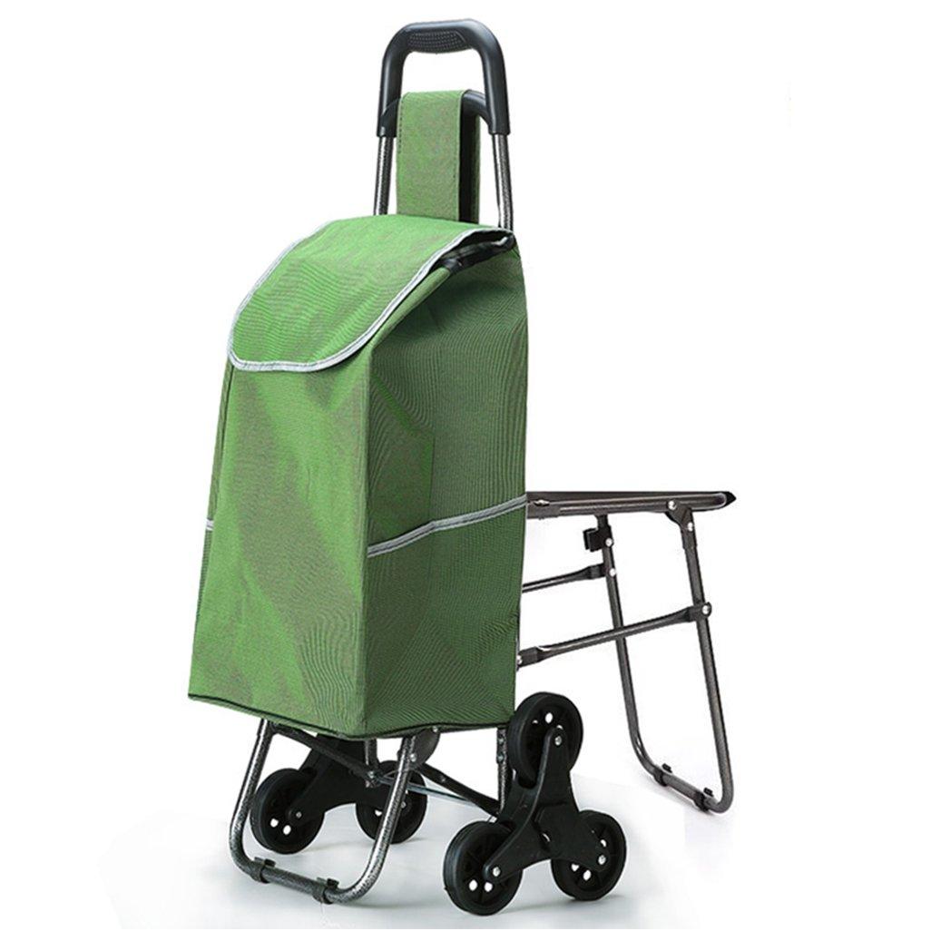 J-JIAショッピングキャリー 軽量階段折り畳み式ショッピングトローリー  ショッピングカート  トラベルカート食料雑貨品カートトロリースーツケース荷物6 PUホイール人間工学に基づいたハンドル折りたたみ式プッシュ、シート付きカートを引き出すオックスフォード布ショッピングバッグカート大容量40L重量:2.5kgグリーンセービングエフェクト B07DS8G86D