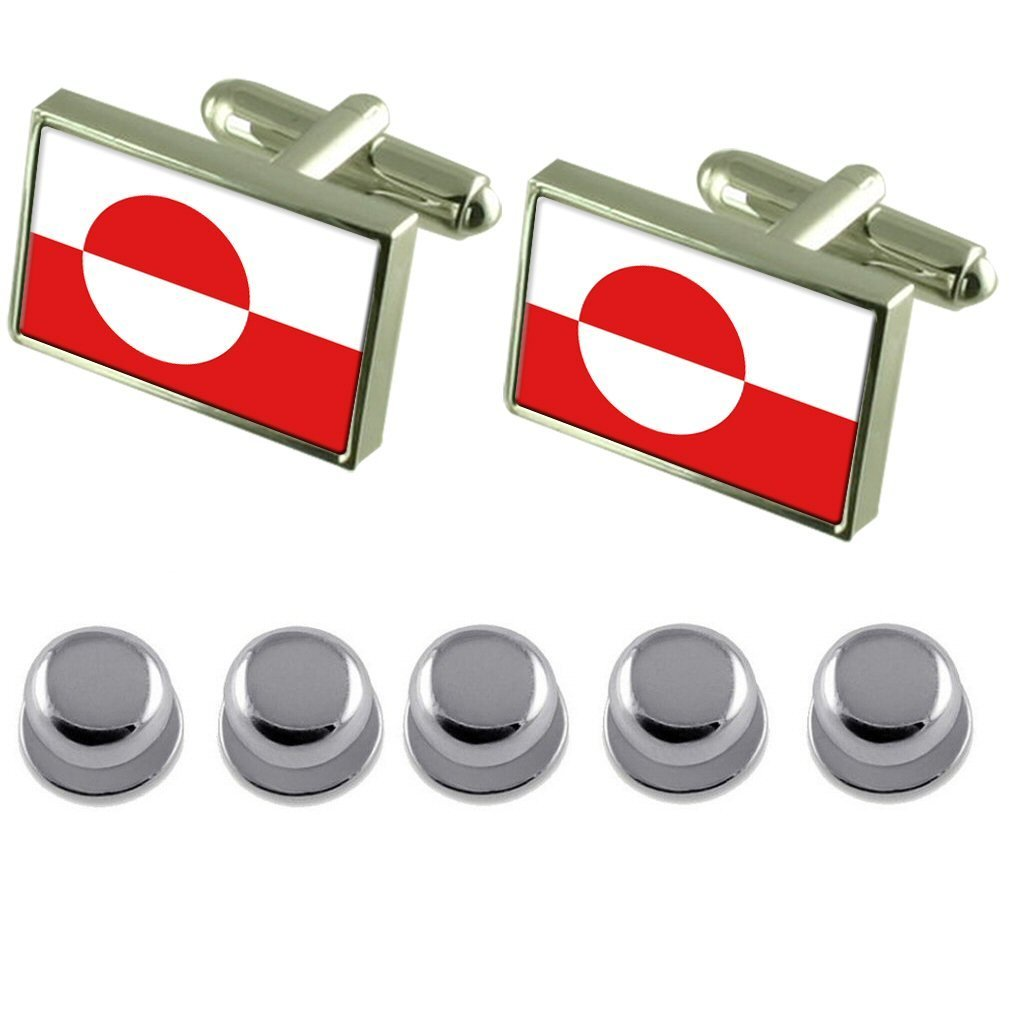Select Gifts Shirt Dress Studs Greenland Flag Cufflinks