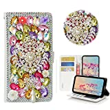 STENES iPhone SE Case - Stylish - 3D Handmade Crystal Dreamcatcher Pearl Pendant Wallet Credit Card Slots Fold Stand Leather Cover Case for iPhone 5/ iPhone 5S/ iPhone SE - Multicolor