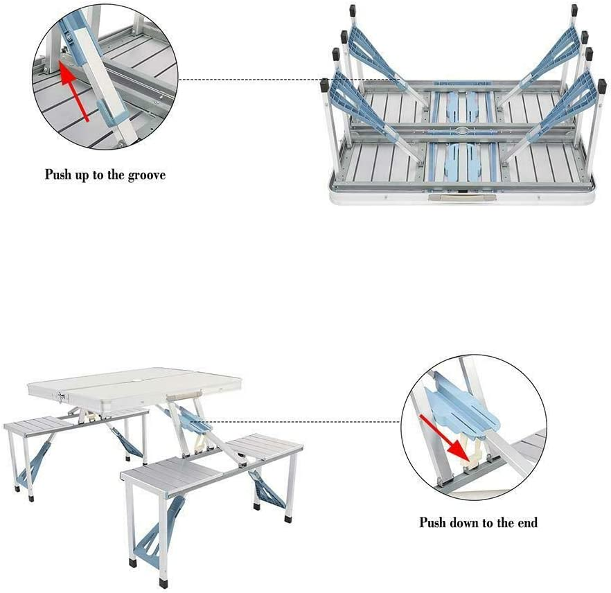 Aluminum Folding Camping Picnic Table with 4 Bench Chair Stool ...