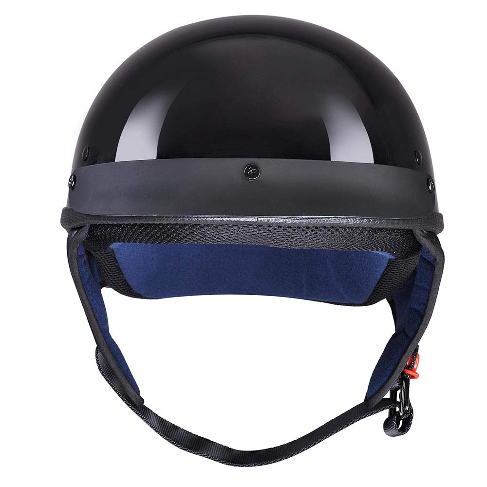 AHR Motorcycle Half Face Helmet DOT Approved Bike Cruiser Chopper High Gloss Black XL