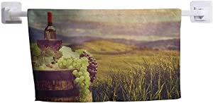 """DayDayFun Pattern Towel Wine Hotel Quality Heavy Weight Italy Tuscany Landscape Rural Vineyard Autumn Harvest Grapes Drink Viticulture 10"""" x 10"""" Green Black Brown"""