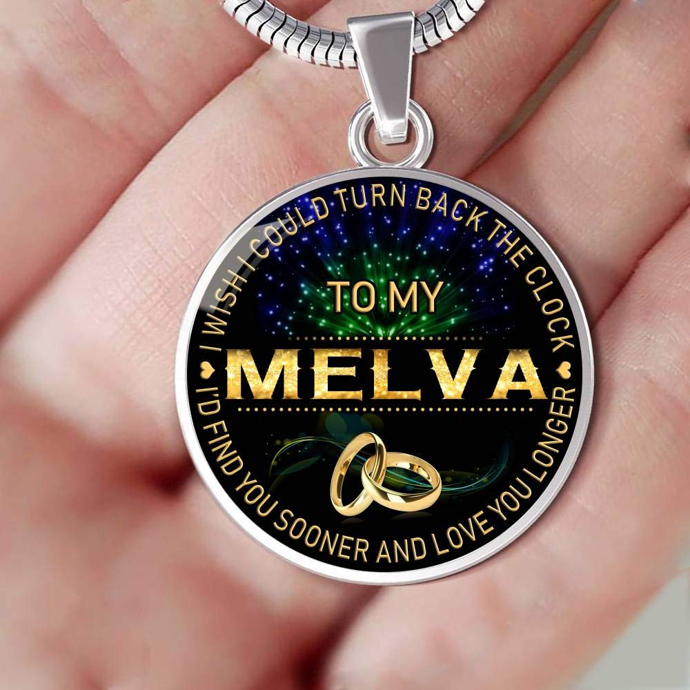 for Mom Wife Jewelry HusbandAndWife Necklace for Women to My Melva I Wish I Could Turn Back Clock I Will Find You Sooner Gifts Mother Necklace for Mom